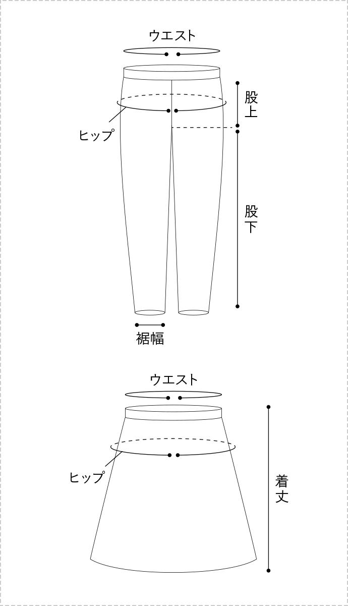 BOTTOMSのサイズ表記